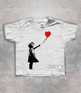 balloon girl t-shirt bambino banksy raffigurante una bimba con un palloncino a forma di cuore
