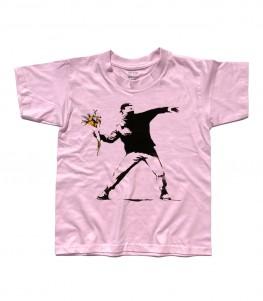 banksy t-shirt bambino raffigurante l'opera il lanciatore di fiori