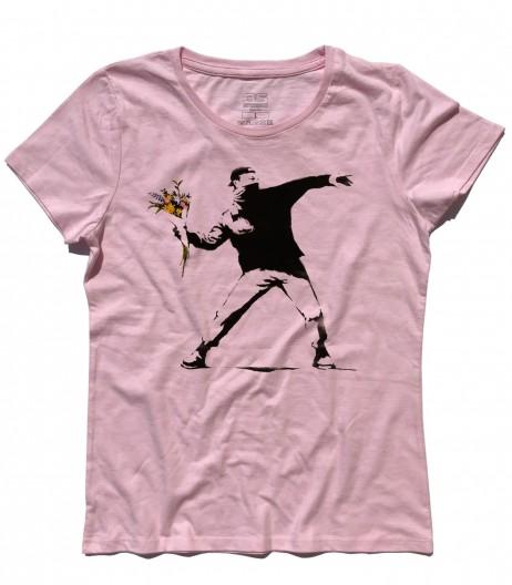 banksy t-shirt donna raffigurante l'opera il lanciatore di fiori