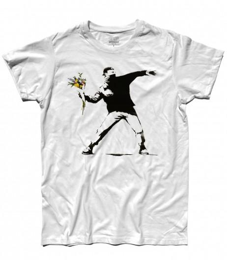 banksy t-shirt uomo raffigurante l'opera il lanciatore di fiori