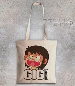 gigi la trottola borsa shopper con immagine di gigi e scritta