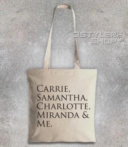"Sex and the City borsa shopper con scritta ""Carrie, Samantha,Charlotte, Miranda and Me"""