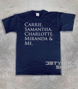 "Sex and the City t-shirt uomo con scritta ""Carrie, Samantha,Charlotte, Miranda and Me"""