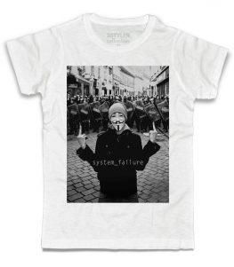 anonymous t-shirt uomo bianca ispirata al recente fenomeno di ribellione nato online
