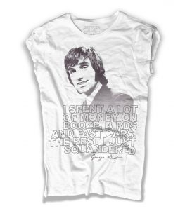george best t-shirt donna bianca con frase i spent a lot of money