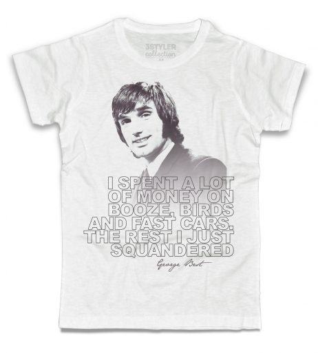 george best t-shirt uomo bianca con frase i spent a lot of money