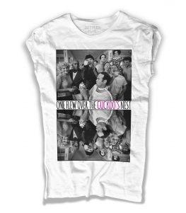 jack nicholson t-shirt donna bianca con foto del film qualcuno volò sul nido del cuculo