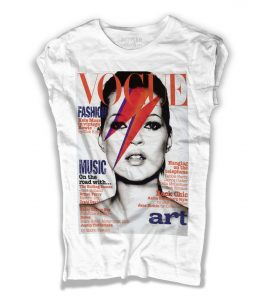 Kate moss t-shirt donna bianca con Kate Moss truccata come David Bowie