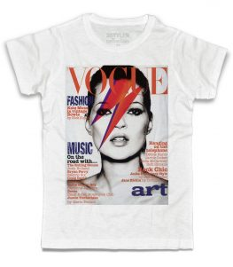 Kate moss t-shirt uomo bianca con Kate Moss truccata come David Bowie