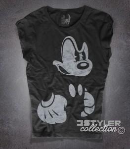 topolino arrabbiato t-shirt donna nera angry mickey mouse