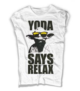yoda t-shirt donna bianca con scritta yoda says relax