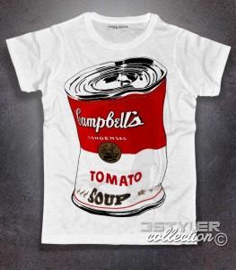 campbell's t-shirt uomo andy warhol raffigurante il barattolo di zuppa accartocciato