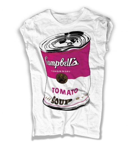 campbell's t-shirt donna andy warhol raffigurante il barattolo di zuppa accartocciato