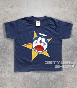 doraemon t-shirt bambino raffigurante il gatto spaziale blu con l'elica