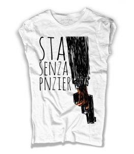 gomorra t-shirt donna con scritta sta senza pnzier e immagine pistola stilizzata