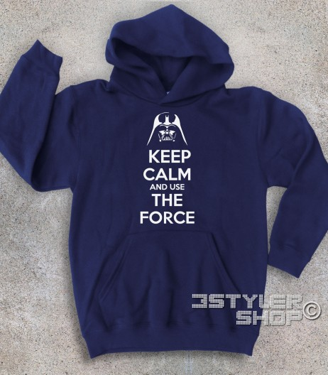 keep calm star wars felpa bambino con scritta keep calm and use the force
