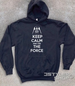 keep calm star wars felpa unisex con scritta keep calm and use the force