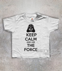 keep calm star wars t-shirt bambino con scritta keep calm and use the force