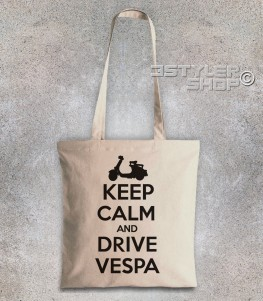 keep calm vespa borsa shopper con scritta keep calm and drive vespa