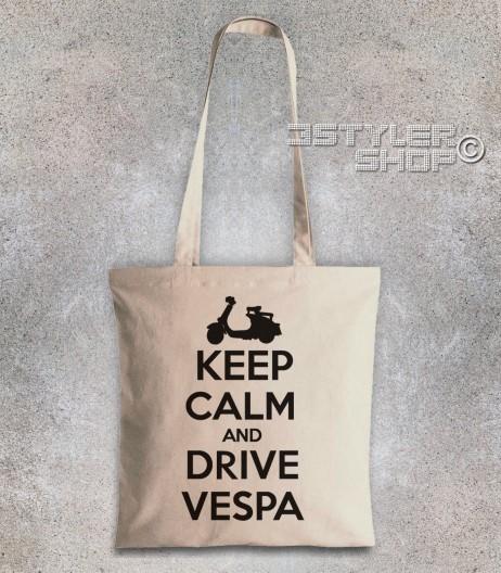 keep calm vespa borsa shopper con scritta keep calm and drive vespa