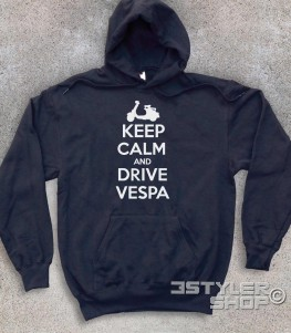 keep calm vespa felpa unisex con scritta keep calm and drive vespa