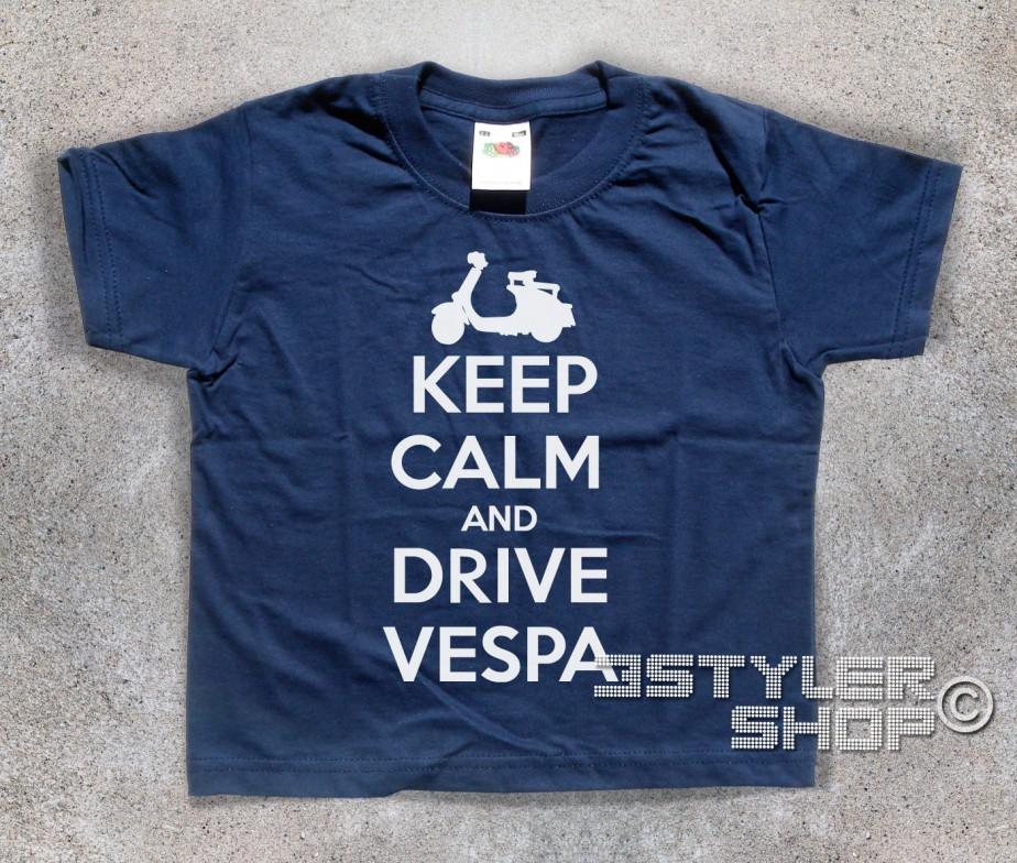 Vespa T Shirt Bambino Keep Calm Drive 29DEWHI