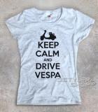 keep calm vespa t-shirt donna con scritta keep calm and drive vespa