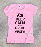 keep calm vespa t-shirt donna con scritta keep calm and drive vespa