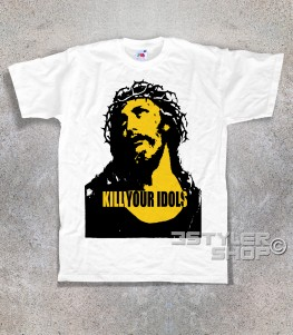 kill your idols T-shirt uomo Bianca stampa immagine Gesù e scritta kill your idols