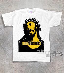 kill your idols T-shirt uomo Bianca stampa immagine Gesù e scritta kill your idols