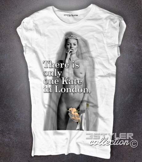 kate moss t-shirt bianca e scritta there is only one kate in london