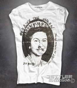 sex pistols t-shirt donna bianca con immagine della regina elisabetta