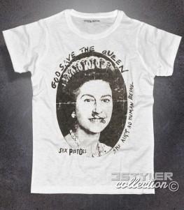 sex pistols t-shirt uomo bianca con immagine della regina elisabetta