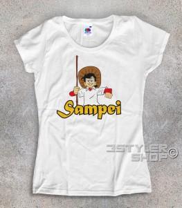 Sampei t-shirt donna raffigurante bil pescatore con il suo cappello e la canna da pesca
