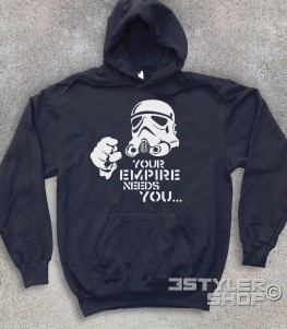 star wars felpa unisex raffigurante uno stormtrooper stilizzato e scritta your empire needs you