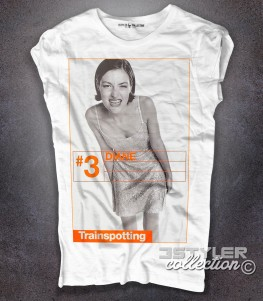 trainspotting t-shirt donna bianca raffigurante il personaggio del film diane