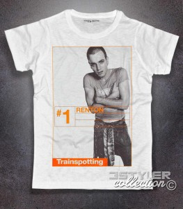 trainspotting t-shirt uomo bianca raffigurante il personaggio del film renton