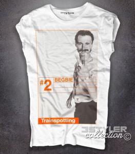 trainspotting t-shirt donna bianca raffigurante il personaggio del film begbie