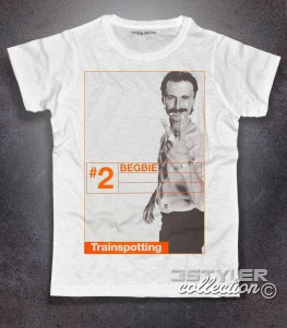 trainspotting t-shirt uomo bianca raffigurante il personaggio del film begbie