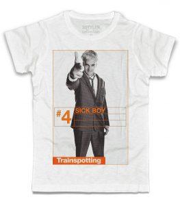 trainspotting t-shirt uomo bianca raffigurante il personaggio del film sick boy