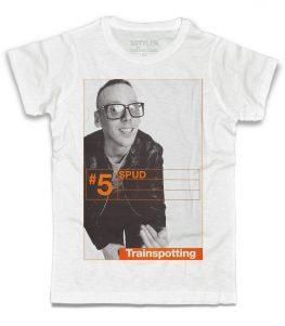 trainspotting t-shirt uomo bianca raffigurante il personaggio del film spud