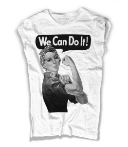 we can do it t-shirt donna raffigurante il famoso manifesto del femminismo