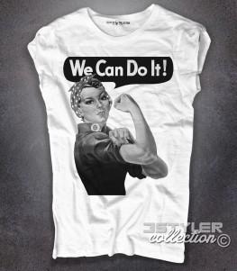 we can do it t-shirt donna raffigurante il famoso manifesto del femminismo
