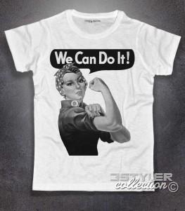 we can do it t-shirt uomo raffigurante il famoso manifesto del femminismo