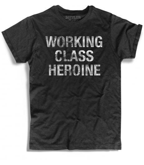 working class heroine t-shirt uomo con scritta