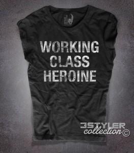 working class heroine t-shirt donna con scritta