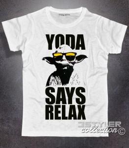 yoda t-shirt uomo bianca con scritta yoda says relax