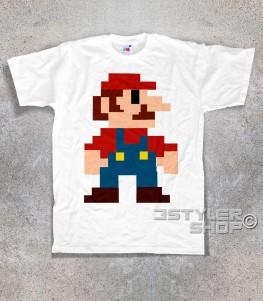 super mario t-shirt uomo raffigurante super mario nella sua prima versione tutta fatta di pixel
