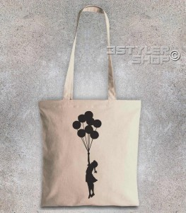 balloon girl shopper bag palestine bambina con i palloncini