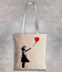balloon girl borsa shopper raffigurante una bimba con un palloncino a forma di cuore